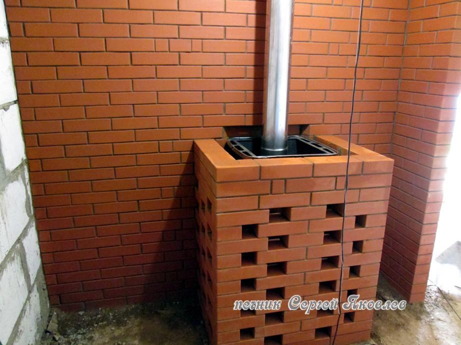 Защитный экран для печи в баню из кирпича своими руками